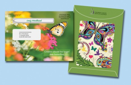 Graphic design for a direct mail pack for an Ask2 fundraising client: Children's Cancer Institute Australia (CCIA). This pack was themed with butterflies to illustrate the theme 'Children should live longer than butterflies'.