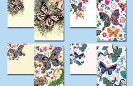 The Children's Cancer Institute Australia 'butterfly-themed' mail pack to donors included a set of 4 greeting cards with matching envelopes.