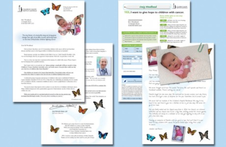 The design of the Children's Cancer Institute Australia mail pack included a 2-page appeal letter, reply form and 'parent's note', with the story of a young family, featuring a photo of their baby girl, Danielle, who was a victim of a brain tumor.