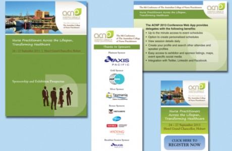 Graphic design for the ACNP conference included a Sponsorship and Exhibition Prospectus, online ads, on-site signage and a Powerpoint template.