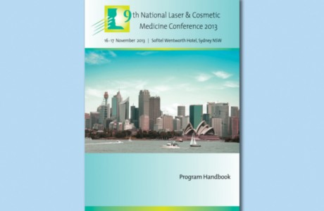 Graphic design for the 28-page Program Handbook for the 9th National Laser & Cosmetic Conference 2013 for conference managers: DC Conferences, Sydney.