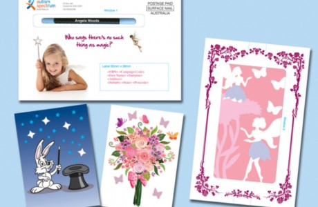 Graphic design for Ask2 fundraising client: Autism Spectrum Australia, with a magical theme throughout. The gift cards were embellished with die-cut stars, embossed flowers and glittered fairy skirts.