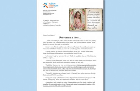 The letter for the Autism Australia mail pack included a letter with a fairy tale-style book and introduction.