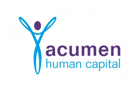 This logo design for Acumen Human Capital includes an energetic blue human figure made of a continuous circuit and features up-stretched arms depicting vitality.