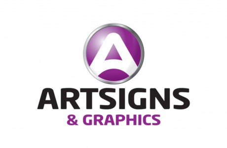 This logo design for ArtSigns & Graphics includes a push-button logo emphasizing the push-button efficiency and state-of-the-art technology of the sign maker.