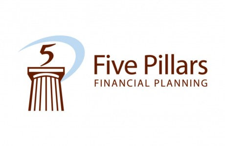 This logo design for Five Pillars Financial Planning combined the strength of a classic pillar with a forward-looking sail graphic surrounding the '5' numeral.