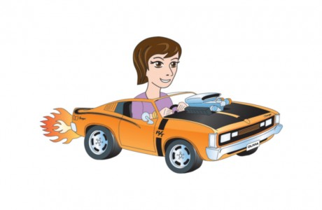 This digital illustration is one of five characters developed for Top Gear Pty Ltd's Tracerz Kids Club. Olivia is driving a high-powered VH Charger