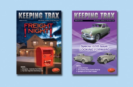 Graphic design for the covers of Keeping Trax, a quarterly journal published by Top Gear Pty Ltd, with news of their Trax model cars and collecting model cars in Australia.