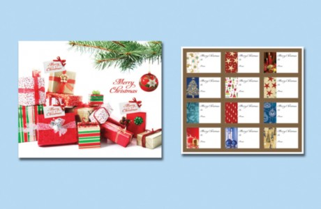The Act for Peace Christmas mail pack included a portfolio with some gifts for the donor, including a set of Christmas gift tags.