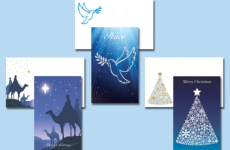 The Act for Peace Christmas mail pack also included a set of specially designed Christmas cards with embellishments such as a die-cut star, silver-foil dove and glitter on the Christmas tree.